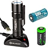 Olight S10R Baton rechargeable 400 Lumens CREE XM-L2 LED Flashlight EDC with RCR123 Li-ion battery , Charging Base and EdisonBright CR123A Lithium back-up Battery bundle