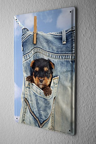 tin-sign-dog-decoration-puppy-pocket-clothesline-metal-plate-8x12