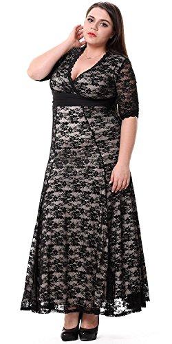Sapphyra® Women's Black Lace V-neck Solid High Waist Long Wedding Swing Dress