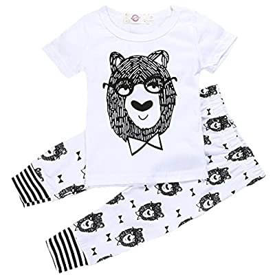 Zhuannian Unisex Baby Toddler Bowtie Bear T-Shirt and Trousers Set