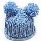 (ル・タン)Le TEMPS ハンドメイド ベビー用ニット帽子 ボンボン付 1~3歳用 4(アクア)