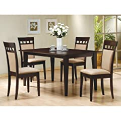 5 PC Espresso Brown 4 Person Table and Chairs Brown Dining Dinette - Espresso Brown and Beige Chair
