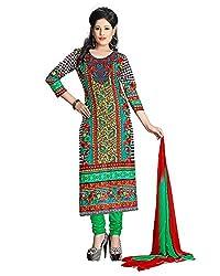 ZHot Fashion Women's Printed Un-stitched Dress Material In Cotton Fabric (ZH1007) Multi