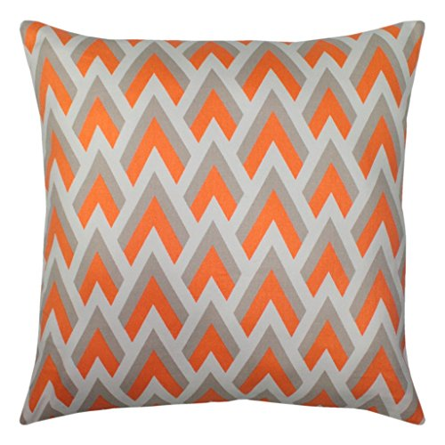 JinStyles® Cotton Canvas Chevron Spike Accent Decorative Throw Pillow Cover (Orange, Grey, White, Square, 1 Cushion Sham for 18 x 18 Inserts)