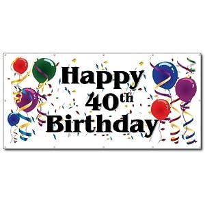 Amazon.com: Happy 40th Birthday - 3' x 6' Vinyl Banner: Office