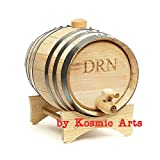 Personalized Mini Oak Whiskey Barrel by Kosmic Arts | Monogrammed Groomsmen Gifts