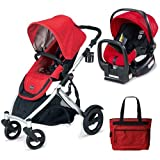 Britax B-Ready Stroller and Chaperone Infant Carrier with Diaper Bag - Red