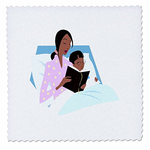 3dRose qs_56123_1 African American Mom N Child Bedtime Story Quilt Square, 10 by 10-Inch