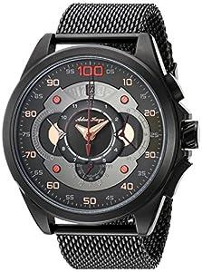 Adee Kaye Men's Quartz Stainless Steel Dress Watch, Color:Black (Model: AK8900-MIPB/MESH)