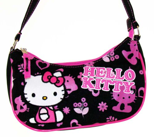 Sanrio Black and Pink Hello Kitty Purse Handbag – Featuring Hello kitty; Great Gift Idea For Girls (Kids and Children's Tote Hand Bag)