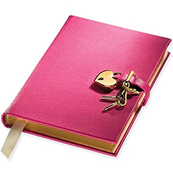 Genuine Leather Heart Lock Diary, Working Key and Lock, Pink, 8