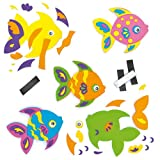 Funky Fish Foam Magnet Kits for Children (Pack of 5)