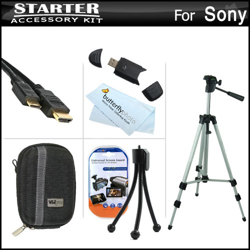 Starter Accessories Kit For The Sony Cyber-Shot Dsc-Hx30V, Dsc-Hx20V Digital Camera Includes Deluxe Carrying Case + 50 Tripod With Case + Mini Hdmi Cable + Usb 2.0 Card Reader + Lcd Screen Protectors + Mini Tabletop Tripod + Microfiber Cleaning Cloth