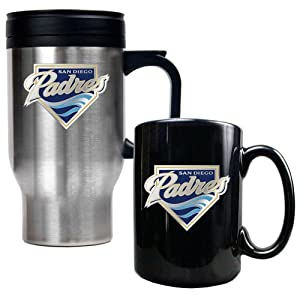 MLB San Diego Padres Stainless Steel Travel Mug & Black Ceramic Mug Set - Primary... by Great American Products