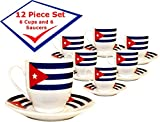 """Beautiful set of 6 ceramic demitasse cups with matching plates. Cuban Flag Design, cup size: 2 1/2 """" high 2 1/4"""" diamater, matching plates are 4 1/2"""" diameter. makes a great gift, ideal to use and decorate your kitchen.   Bello juego de 6 tac..."""