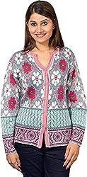 KTC Women's Wool Regular Fit Cardigan (515-WHITE, White, 38)