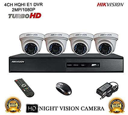 Hikvision-DS-7204HQHI-E1-4CH-Dvr,-4(DS-2CE56DOT-IR)-Dome-Camera-(With-Mouse,-Remote)