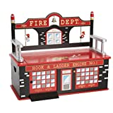 Wildkin Firefighter Toy Box Bench (Color: Firefighter, Tamaño: Bench)