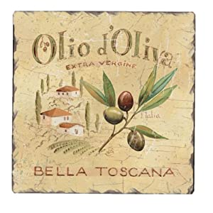 CounterArt Olive Label Square Tumbled Tile Trivet, 6-Inch by CounterArt