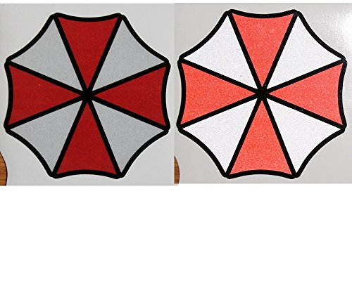2x-umbrella-corporation-logo-reflechissant-sticker-autocollants-aufkleber-10-cm-zombie-raccoon-city-