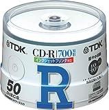 TDK CD-Rデータ用700MB 48倍速ホワイトプリンタブル ポットケース入り50枚パック [CD-R80TWX50PS]