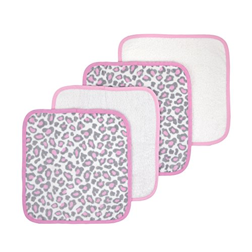 Just Born Welcome To The Circus Woven Washcloth, Leopard Pink, 4 Count