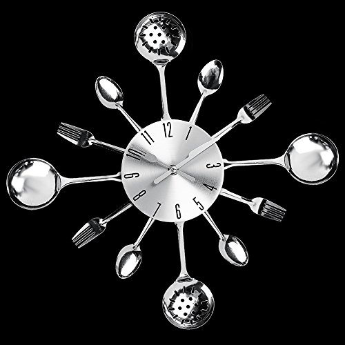 Susufaa Wall Clock Knife Fork Spoon Originality Clock Kitchen Restaurant Wall Decor Metal Quartz Time Clock Mute