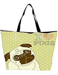 Snoogg I Love Pugs Cute Little Pug On Polka Dot Background Waterproof Bag Made Of High Strength Nylon - B01I1KL6TY