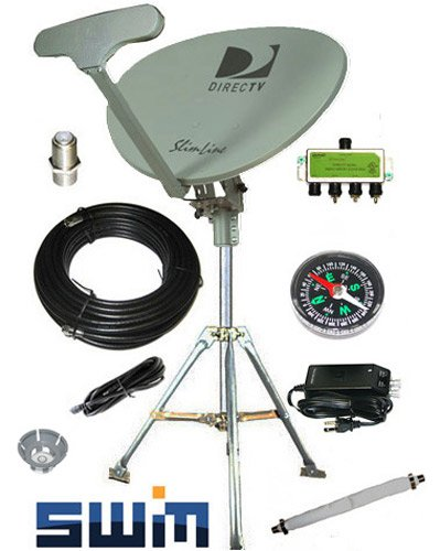 DirecTV SWM SL5S Portable Satellite RV Dish Kit Camping Tailgating with Tripod SWiM