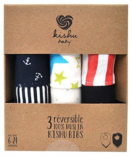 Kishu Baby Boy's Reversible Bandana Bib Multipack | One Size Multicolor - 1