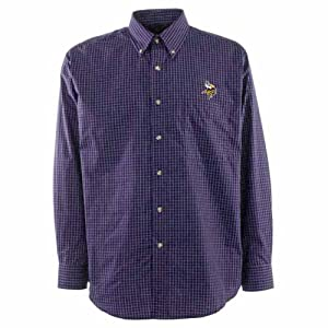 Minnesota Vikings Esteem Button Down Dress Shirt (Team Color) by Antigua
