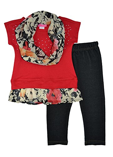 Alfa Global Little Girls Short Sleeved Shirt Leggings And Scarf Set 6T