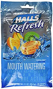 Halls refresh moisture action tropical wave cough drops - 20/bag, 12 bags(Sugar free)