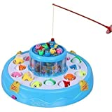 Martiple fishing game, Music fishing play-set toy with 2 rotary ponds and 4 pods (Blue)