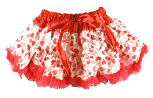 Girl'S Satin And Chiffon Red Hearts Pettiskirt Tutu Infant 12-24 Months front-583127
