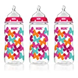 NUK Fashion Orthodontic Butterflies Bottle, Girl, 10 Ounce, 3 Count