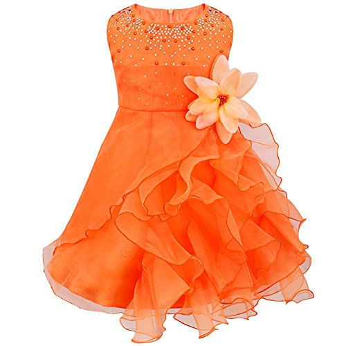 TIAOBU Baby Girls Cascading Organza Rhinestone Flower Baptism Party Dress Orange 18-24 Months