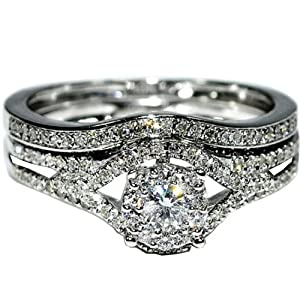 Brdial Wedding set Real diamonds 10K White gold .45ct Vintage inspired pave 2pc
