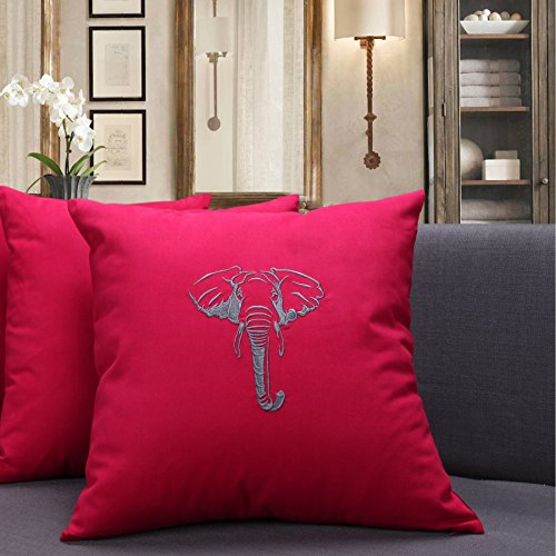 Casstar 100 Cotton 1818 Inches Square Cushion Case Embroidered Silhouette Elephant Throw Pillow