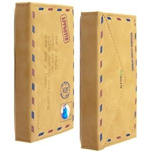 kwmobile® Kunstleder Wallet Case mit Mail Design und EC- und Visitenkartenfach für Apple iPhone 4 / 4S in Braun - Praktischer Schutz für Ihr Handy