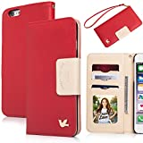 iPhone 6 plus case,(5.5)By HiLDA,Wallet Case,PU Leather Case,Credit Card Holder,Flip Cover Skin[Red]