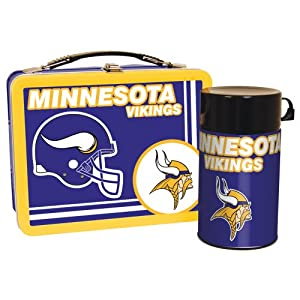 Minnesota Vikings Metal Lunch Box with Thermos by The Memory Company