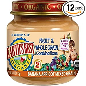 Earth's Best Organic 2nd Fruit & Whole Grain Combo (Banana, Apricot, Mixed Grain), 4 Ounce Jars (Pack of 12)
