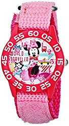 Disney Kids W001663 Figaro and Minnie Mouse Plastic Case Watch with Pink Strap