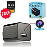 IMPROVED Hidden Camera USB Wall Charger - 32GB Mini Nanny Spy Cam HD 1080P with Motion Detection for Home, Office, Hotel Security