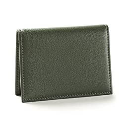 Slim Card Holder - Full Grain Leather - Hunter Green (green)