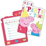 6 Peppa Pig RED Birthday Party Invitations Invites Plus Envelopes