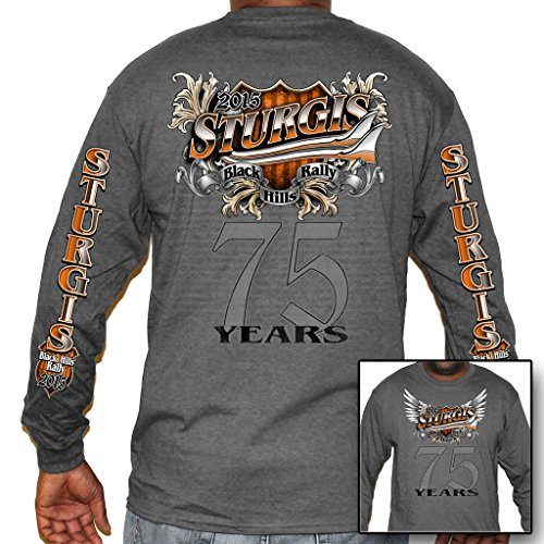 Biker Life USA Men's 2015 Sturgis 75 Years Long Sleeve Shirt