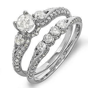 1.50 Carat (ctw) 14k White Gold Round Diamond Ladies Bridal Ring Engagement Set with Matching Band
