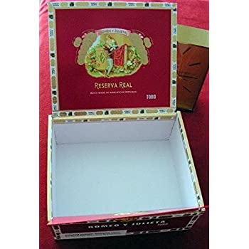 Cigar box, empty, paper covered wooden one